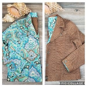 Reversible quilted paisley polka dot jacket M/L